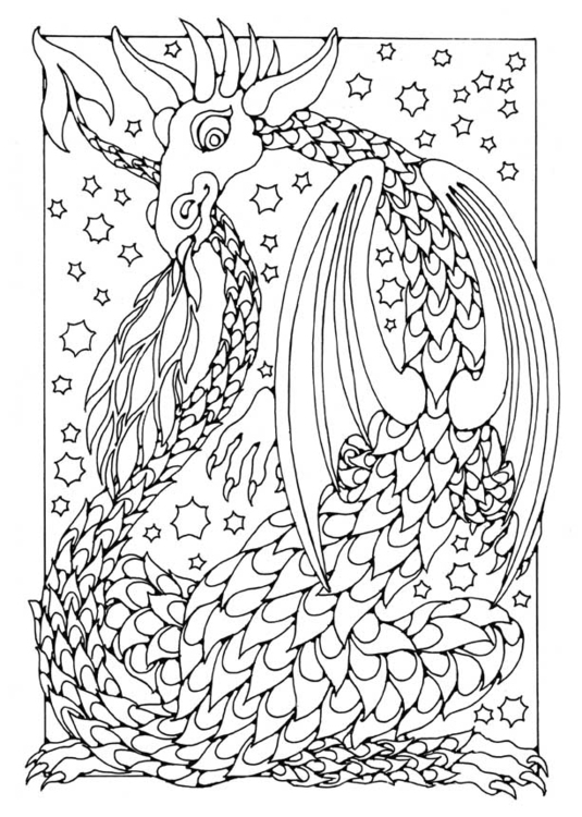 Coloring page fiery dragon