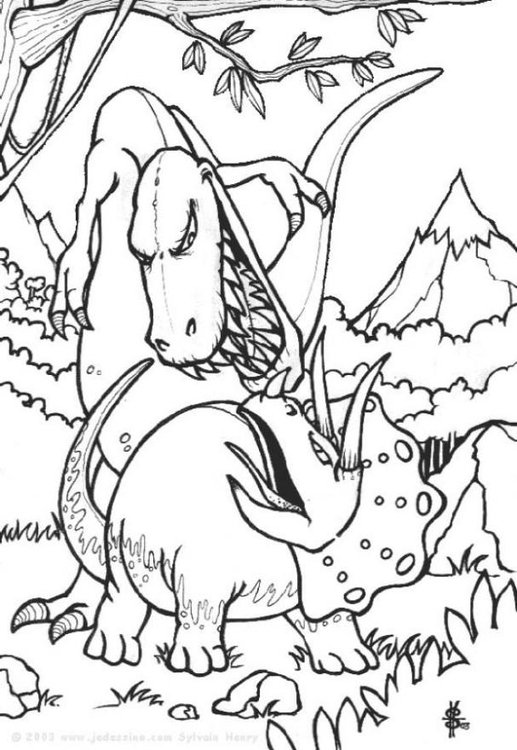 Coloring page fight dinosaurs