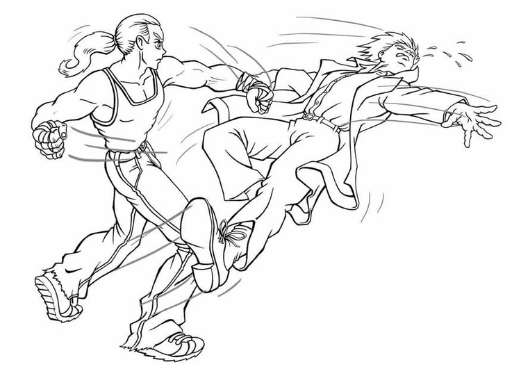 Coloring page fight
