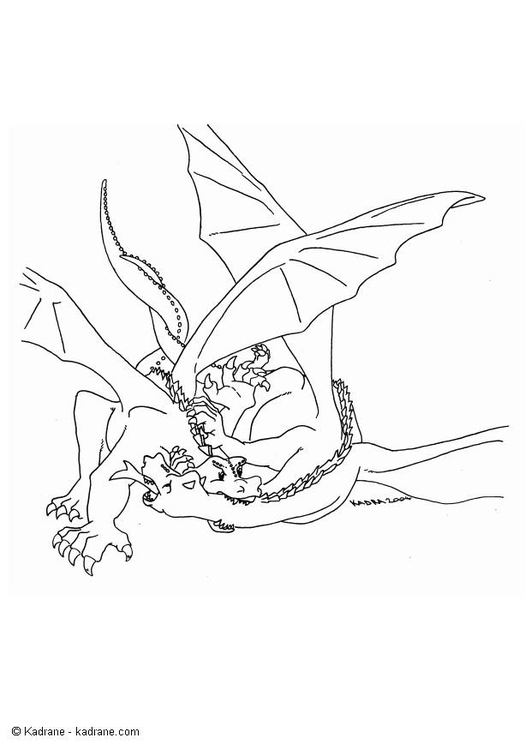 Coloring page fighting dragon