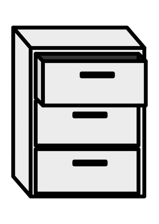Coloring page filing cabinet