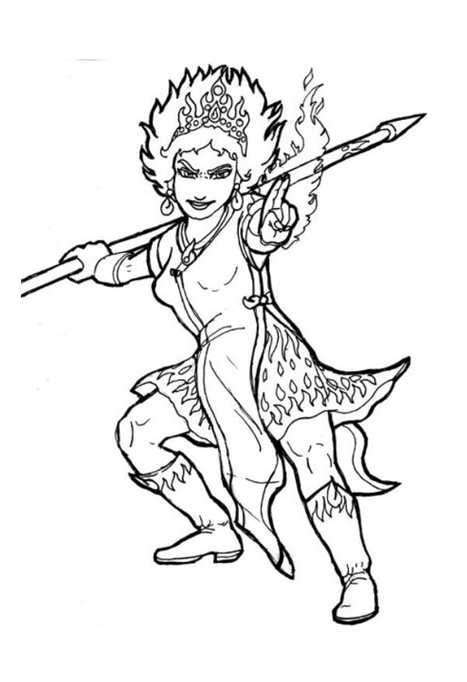 Coloring page fire queen