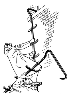 Coloring page firefighter with ladder