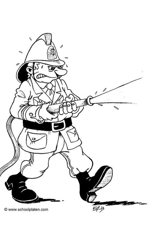 Coloring page fireman