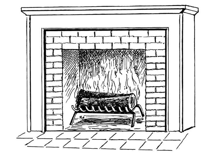 Coloring page fireplace