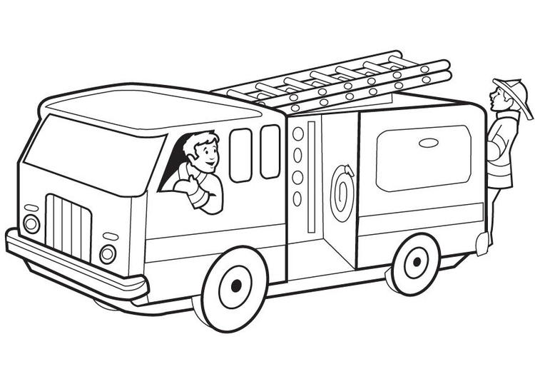 Coloring page firetruck - img 8174.