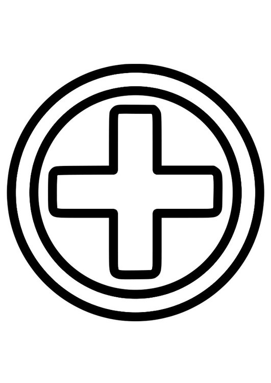 Coloring page first aid icon