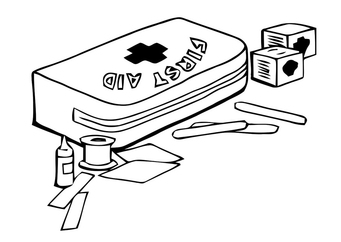 Coloring page first aid kit