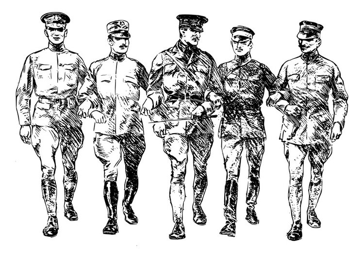 Coloring page First World War soldiers