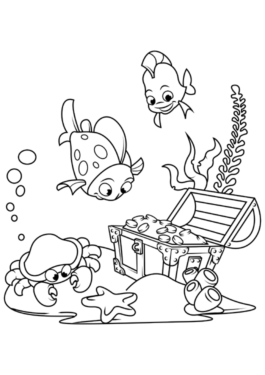 Coloring page fish and crab find treasure