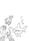 Coloring pages fish and shark
