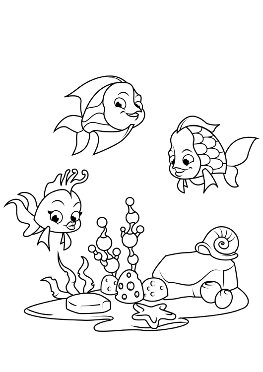 Coloring page fish with friends