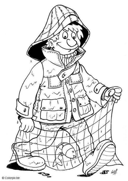 Coloring page fisherman