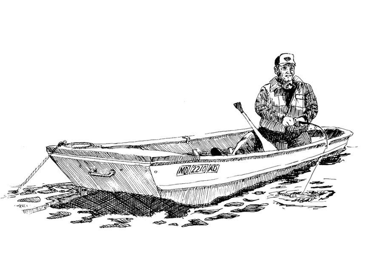 Coloring page fisherman in boat