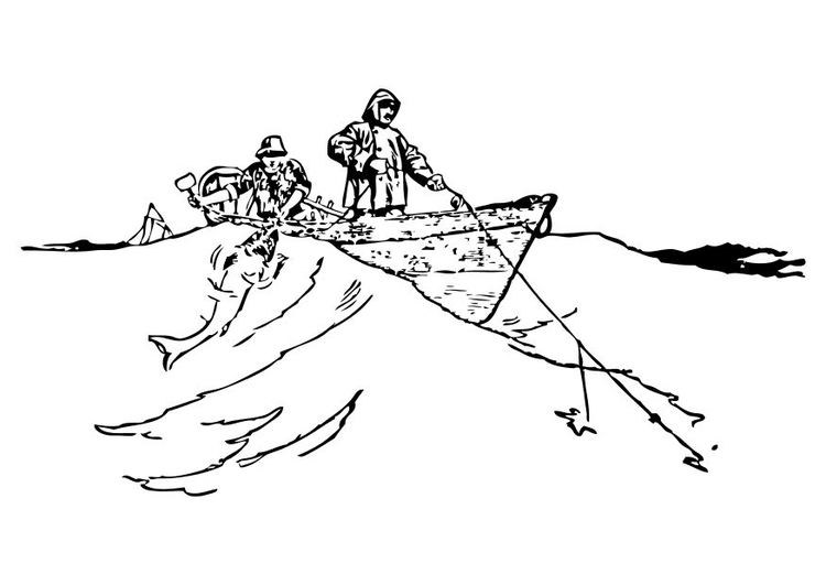Coloring page fishermen
