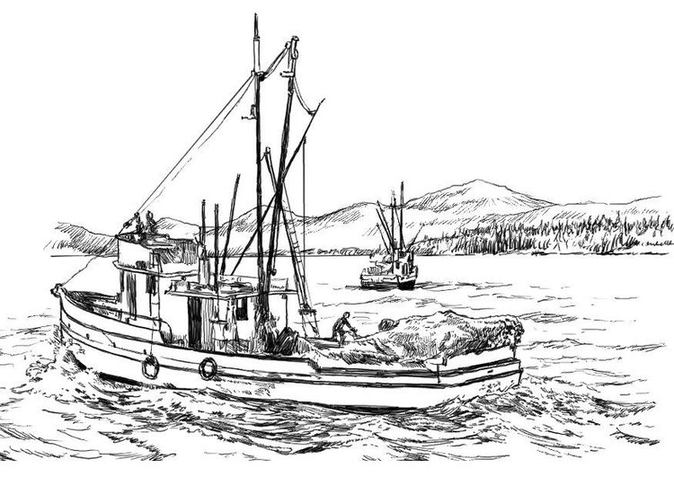 Coloring page fishing boat img 8059
