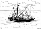 Coloring page fishing boat