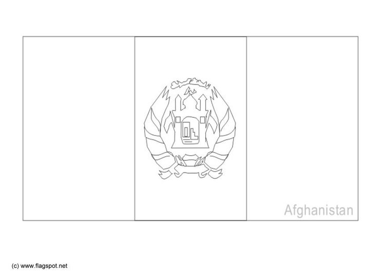 Coloring Page Flag Afghanistan