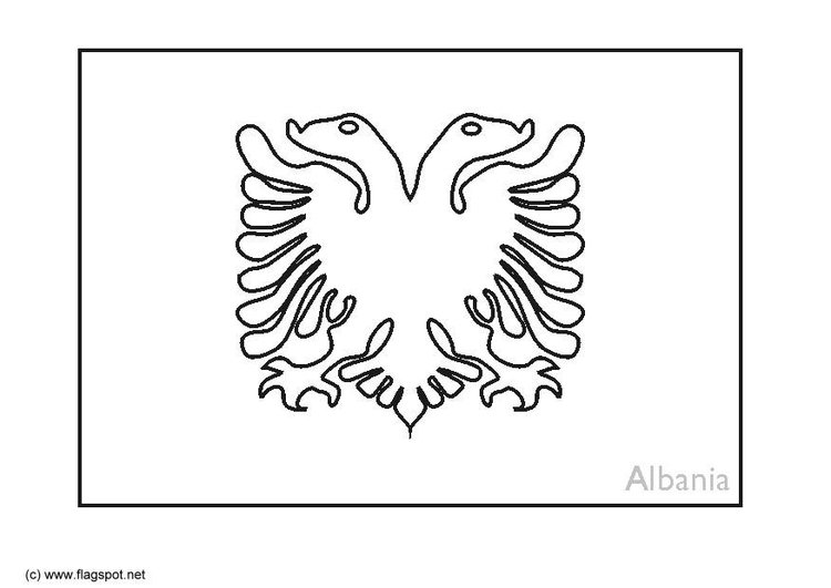 Coloring Page Flag Albania