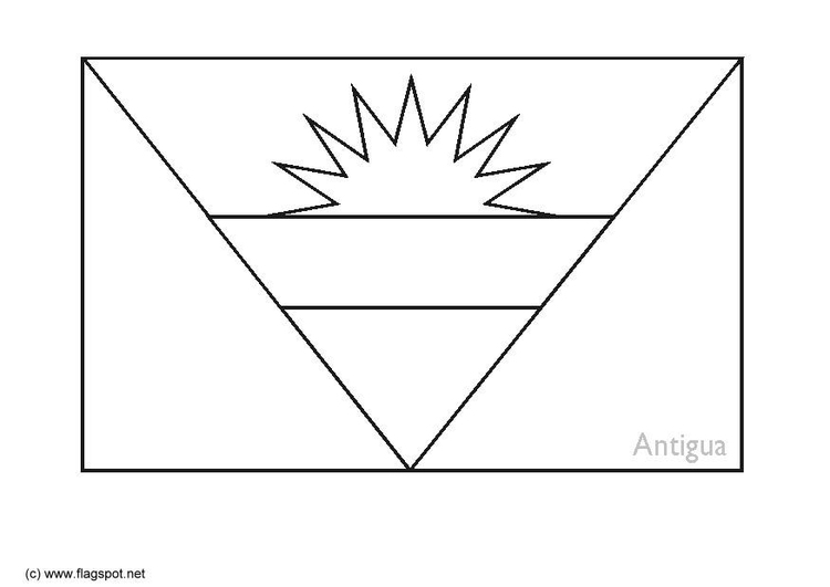 Coloring page flag Antigua