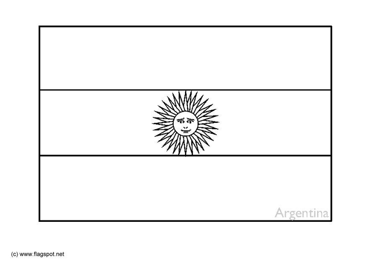 Coloring page flag Argentinia