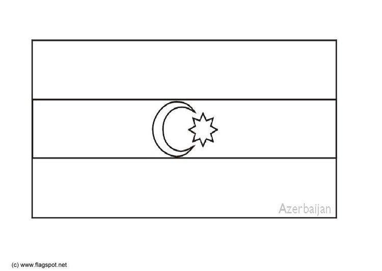 Coloring page flag Azerbijan