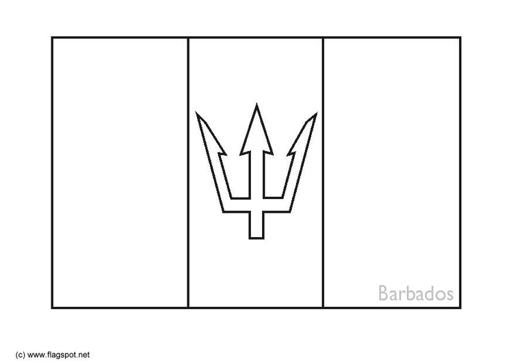 Barbados Flag Coloring Page