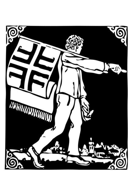 Coloring page flag bearer
