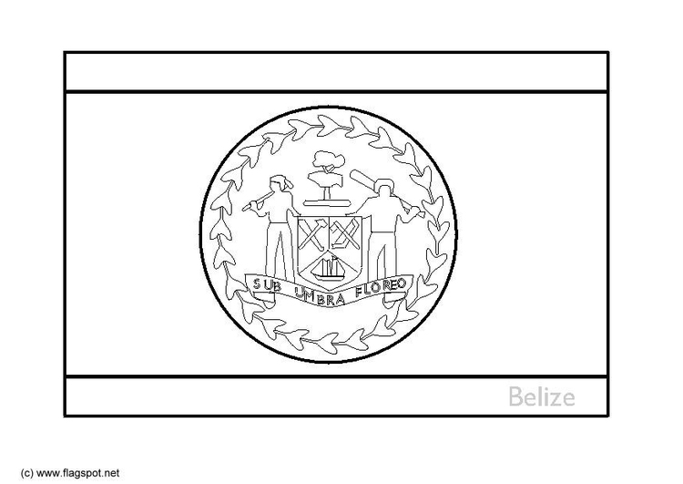 Coloring page flag Belize