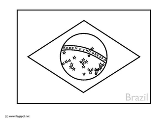 Coloring page flag Brazil