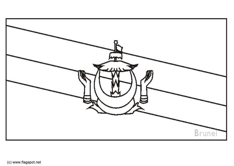 Coloring page flag Brunei