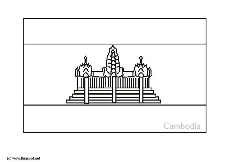 Coloring page flag Cambodia