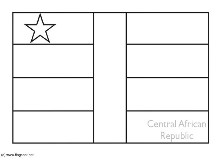 Coloring page flag Central African Republican