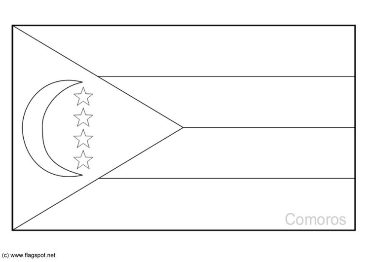 Coloring page flag Comoros
