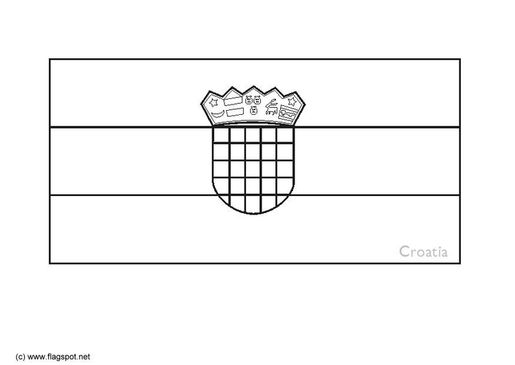 Coloring page flag Croatia