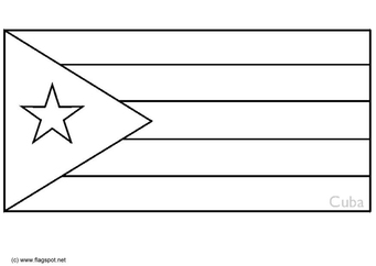 Coloring page flag Cuba