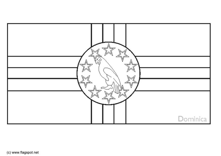 Coloring page flag Dominica