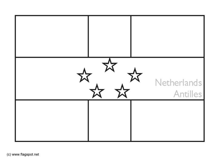 Coloring page flag Dutch Antilles