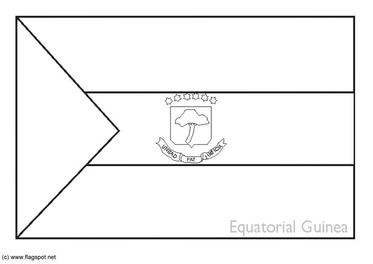 Coloring page flag Equatorial Guinea
