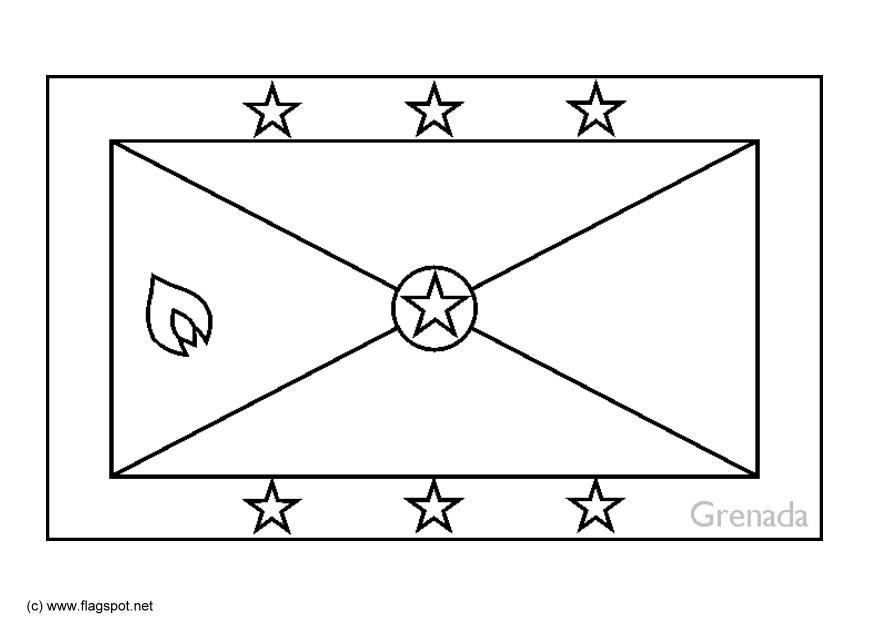 Coloring Page Flag Grenada Free Printable Coloring Pages