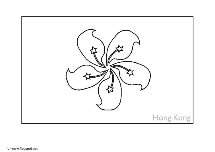 Coloring page flag Hong Kong