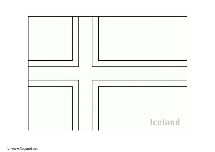 Coloring page flag Iceland