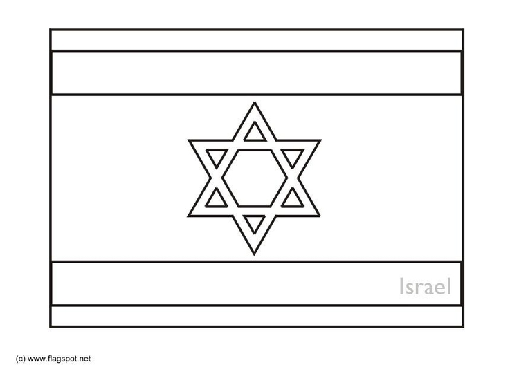 Coloring page flag Israel