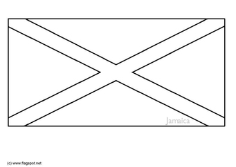 Coloring page flag Jamaica