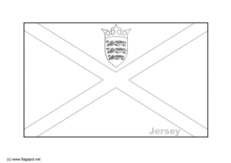 Coloring page flag Jersey
