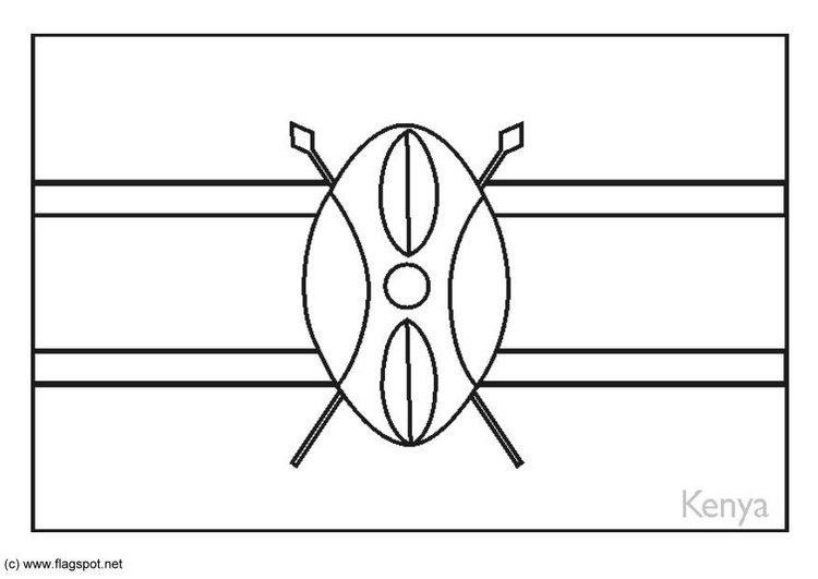 Coloring page flag Kenya