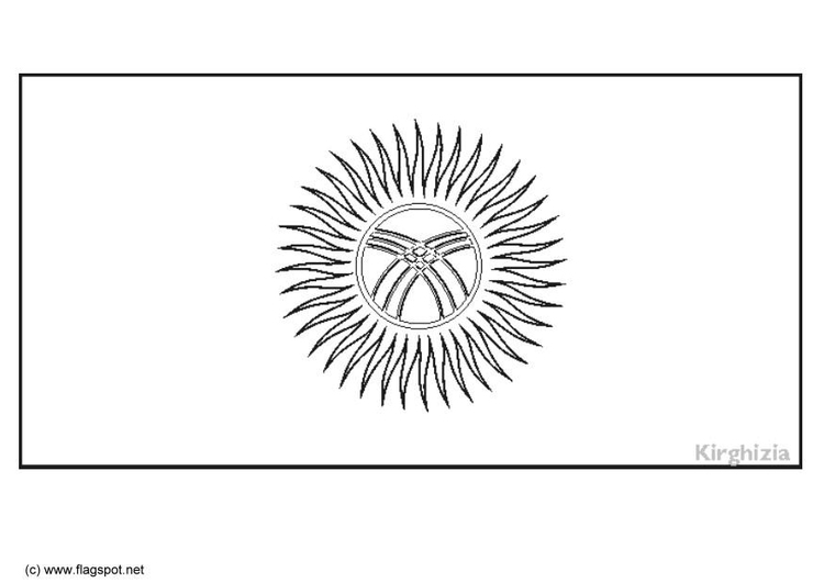 Coloring page flag Kirgistan