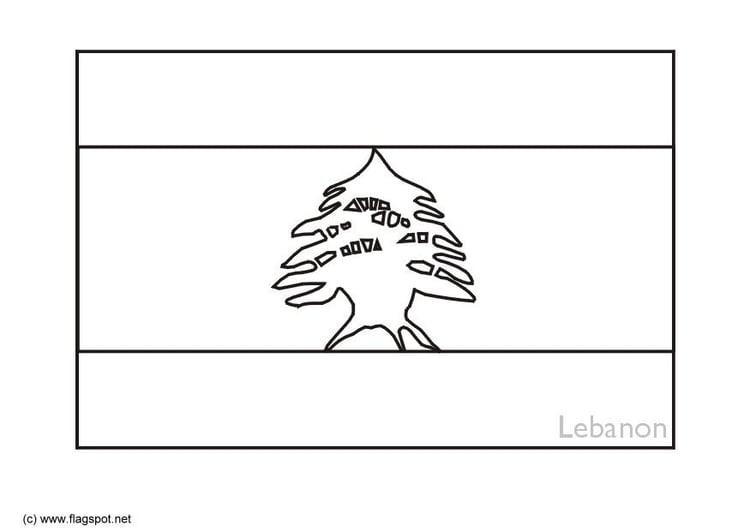 Coloring Page Flag Lebanon