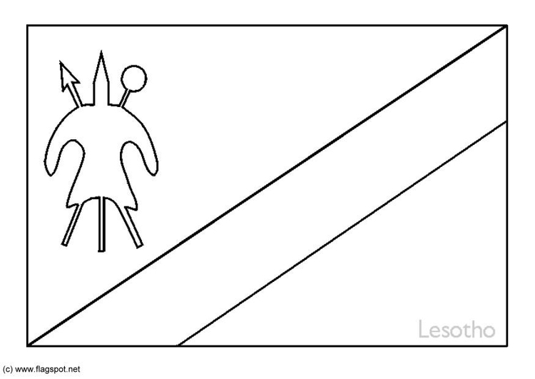 Coloring Page Flag Lesotho