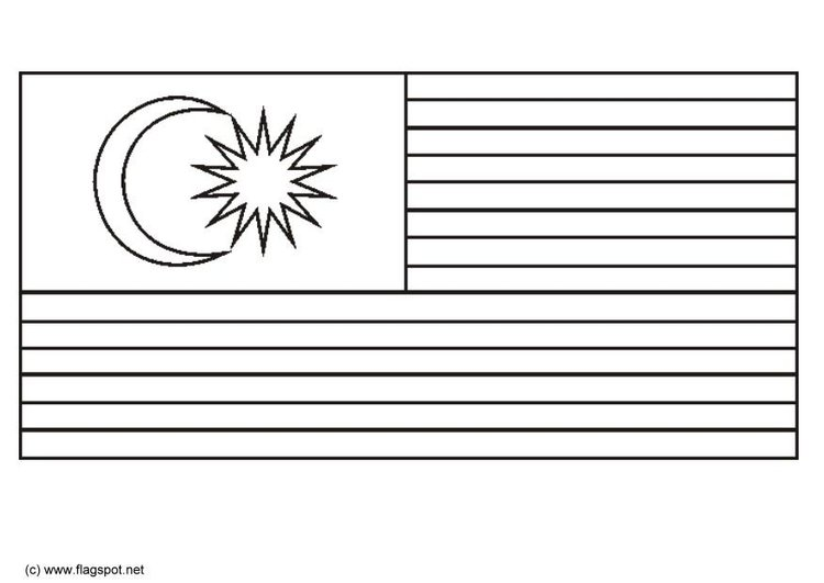 Coloring page flag Malaysia